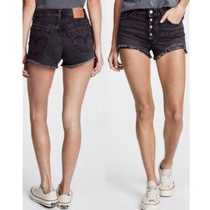 Levi's 501 Black Distressed Denim Shorts W28